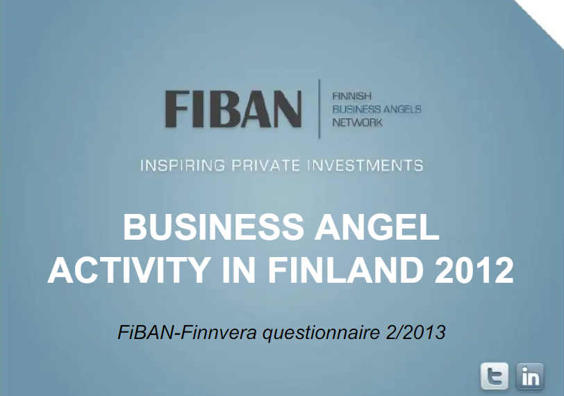 Business Angel Activity in Finland 2012 – Angels invested over 14M€ in potential growth entreprises